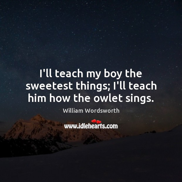 I'll teach my boy the sweetest things; I'll teach him how the owlet sings. William Wordsworth Picture Quote