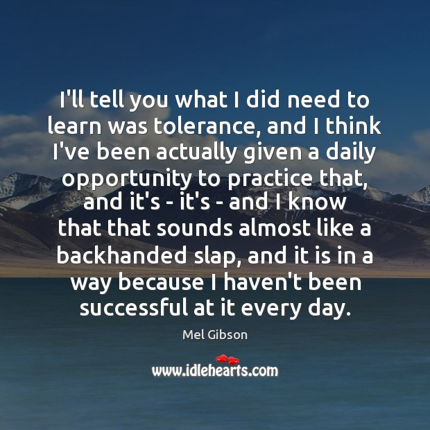 I'll tell you what I did need to learn was tolerance, and Mel Gibson Picture Quote