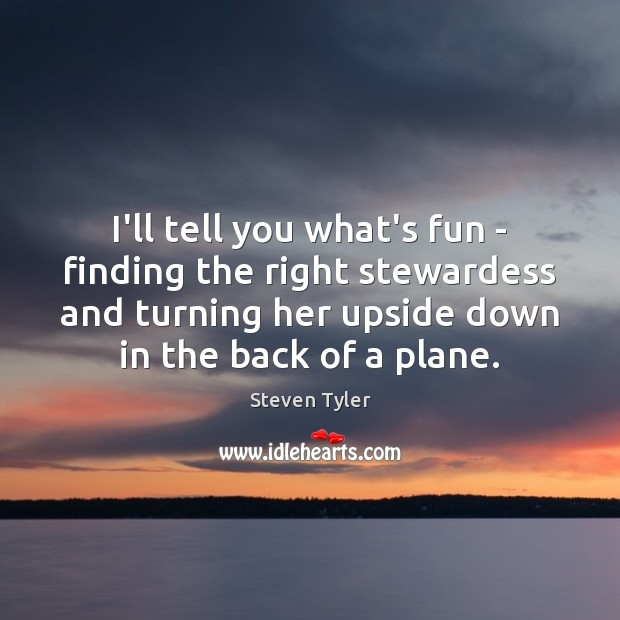 Steven Tyler Picture Quote image saying: I'll tell you what's fun – finding the right stewardess and turning