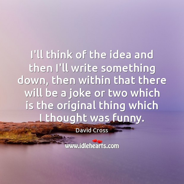 I'll think of the idea and then I'll write something down, then David Cross Picture Quote