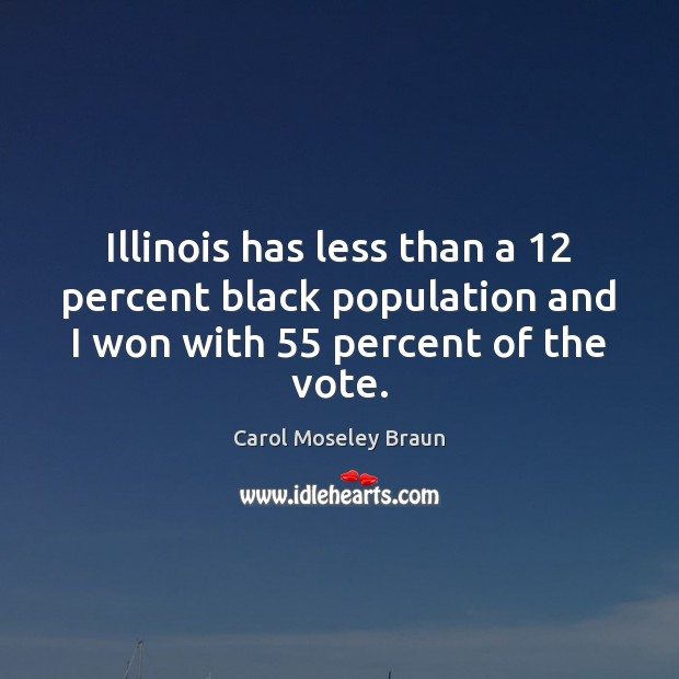 Image, Illinois has less than a 12 percent black population and I won with 55