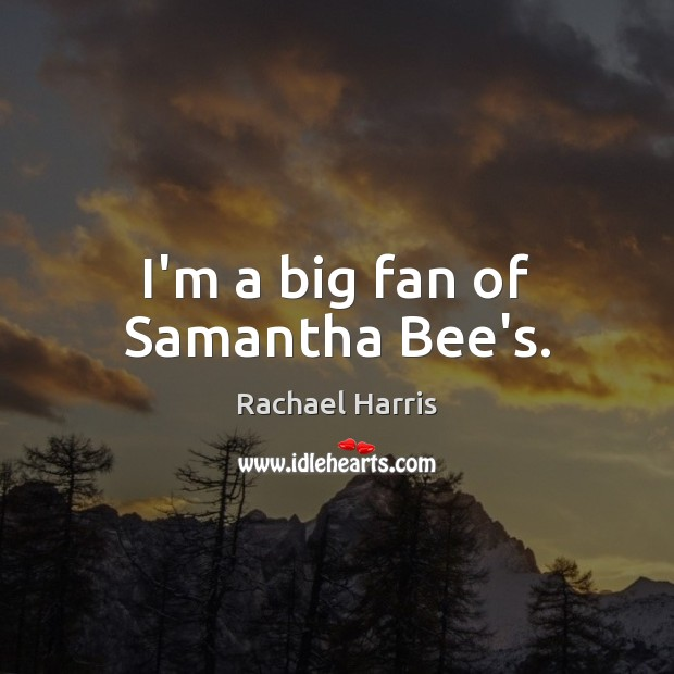 I'm a big fan of Samantha Bee's. Rachael Harris Picture Quote
