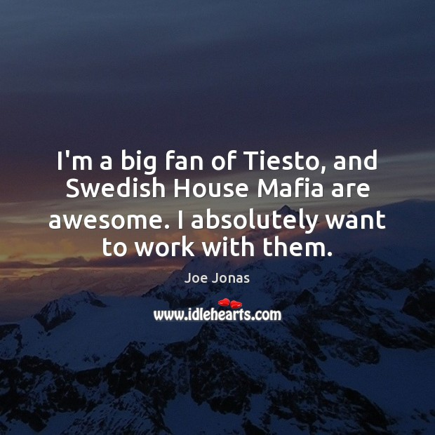 I'm a big fan of Tiesto, and Swedish House Mafia are awesome. Image