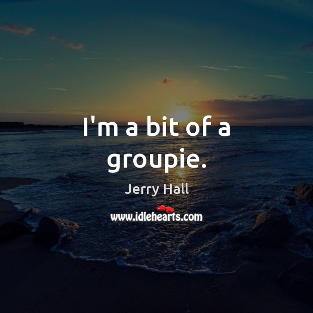 I'm a bit of a groupie. Jerry Hall Picture Quote