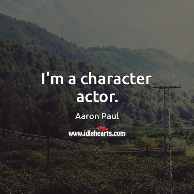 I'm a character actor. Aaron Paul Picture Quote
