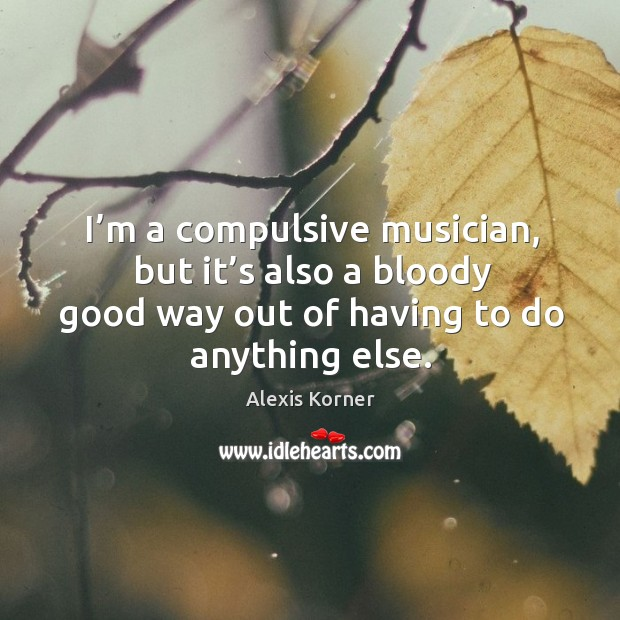 I'm a compulsive musician, but it's also a bloody good way out of having to do anything else. Image