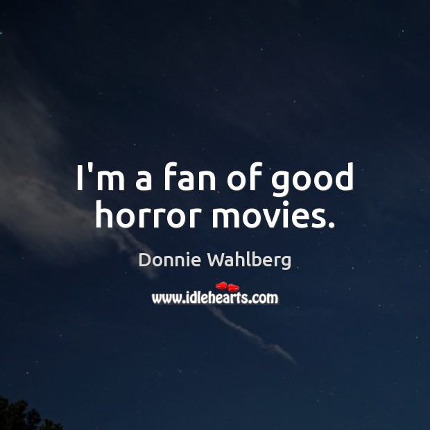 I'm a fan of good horror movies. Donnie Wahlberg Picture Quote