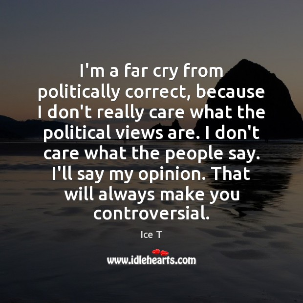 I'm a far cry from politically correct, because I don't really care Ice T Picture Quote