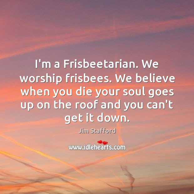 I'm a Frisbeetarian. We worship frisbees. We believe when you die your Image