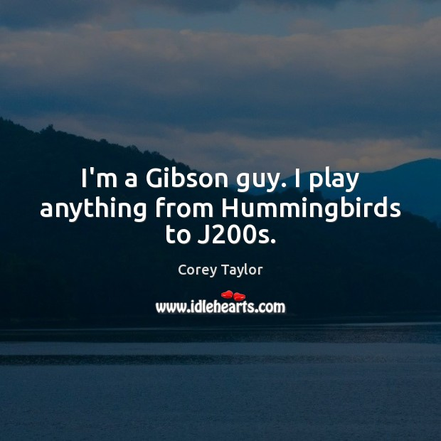 I'm a Gibson guy. I play anything from Hummingbirds to J200s. Image