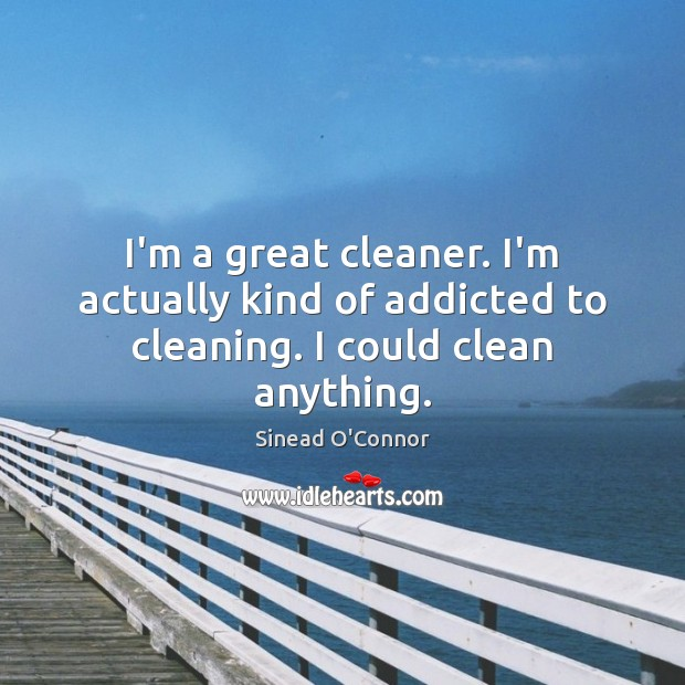 I'm a great cleaner. I'm actually kind of addicted to cleaning. I could clean anything. Sinead O'Connor Picture Quote