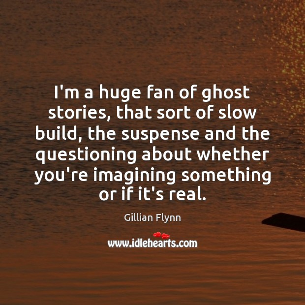 I'm a huge fan of ghost stories, that sort of slow build, Gillian Flynn Picture Quote