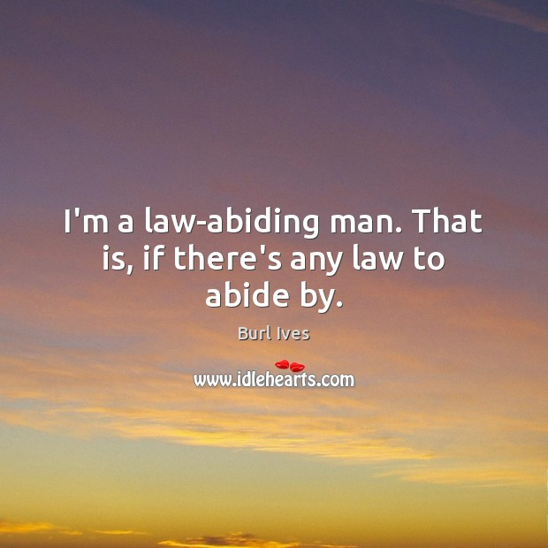 Image, I'm a law-abiding man. That is, if there's any law to abide by.