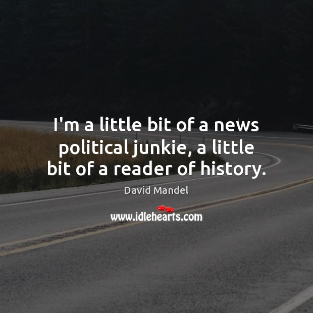 I'm a little bit of a news political junkie, a little bit of a reader of history. David Mandel Picture Quote