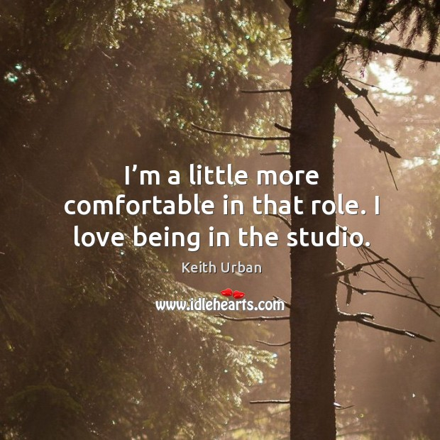 I'm a little more comfortable in that role. I love being in the studio. Keith Urban Picture Quote