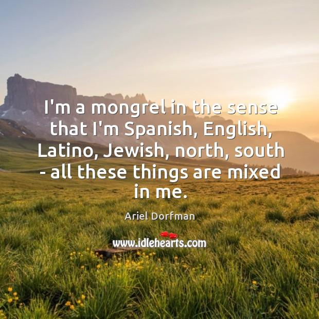 Image, I'm a mongrel in the sense that I'm Spanish, English, Latino, Jewish,