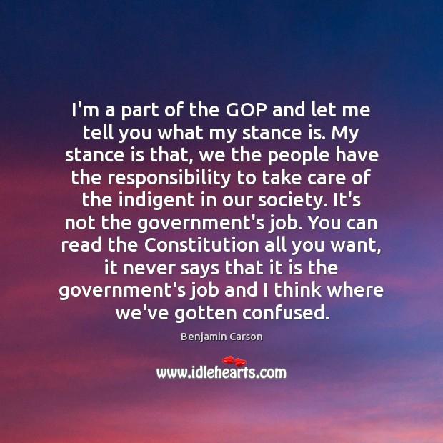 I'm a part of the GOP and let me tell you what Benjamin Carson Picture Quote