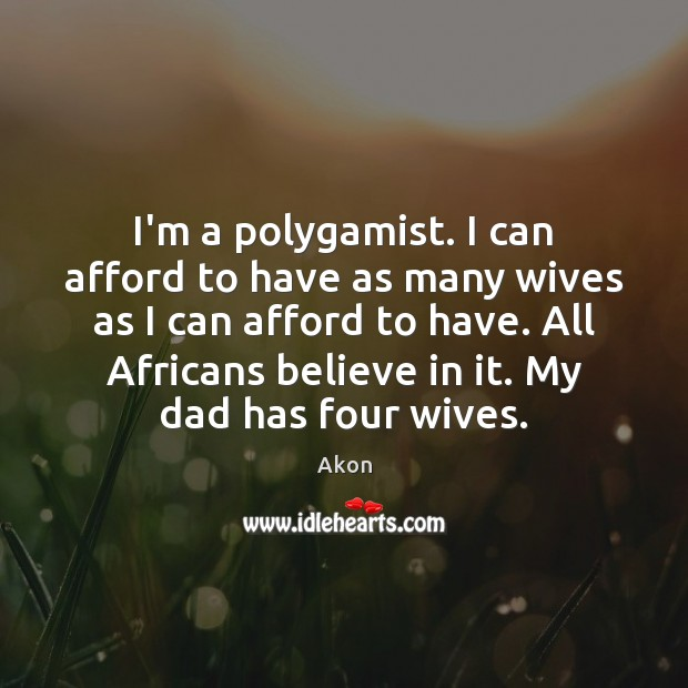 Image, I'm a polygamist. I can afford to have as many wives as
