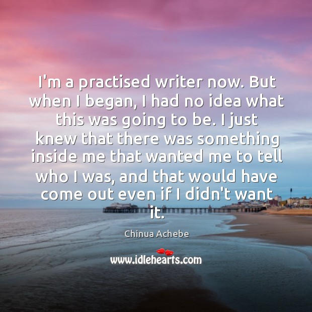I'm a practised writer now. But when I began, I had no Image