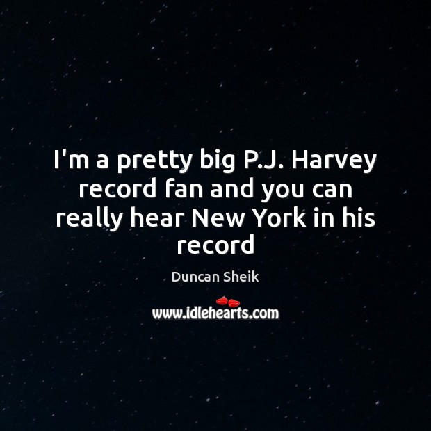 I'm a pretty big P.J. Harvey record fan and you can really hear New York in his record Duncan Sheik Picture Quote