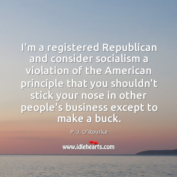 Image, I'm a registered Republican and consider socialism a violation of the American
