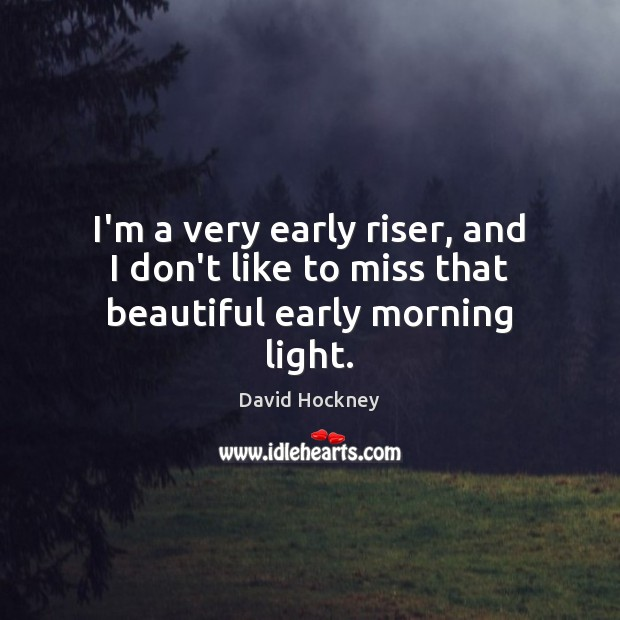 I'm a very early riser, and I don't like to miss that beautiful early morning light. David Hockney Picture Quote
