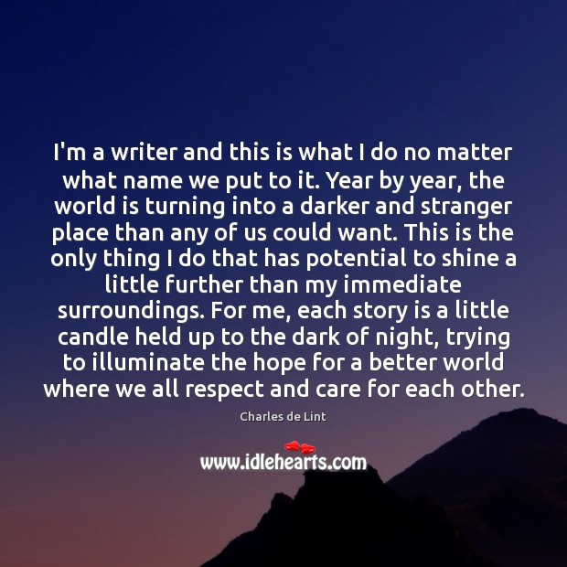 I'm a writer and this is what I do no matter what Charles de Lint Picture Quote
