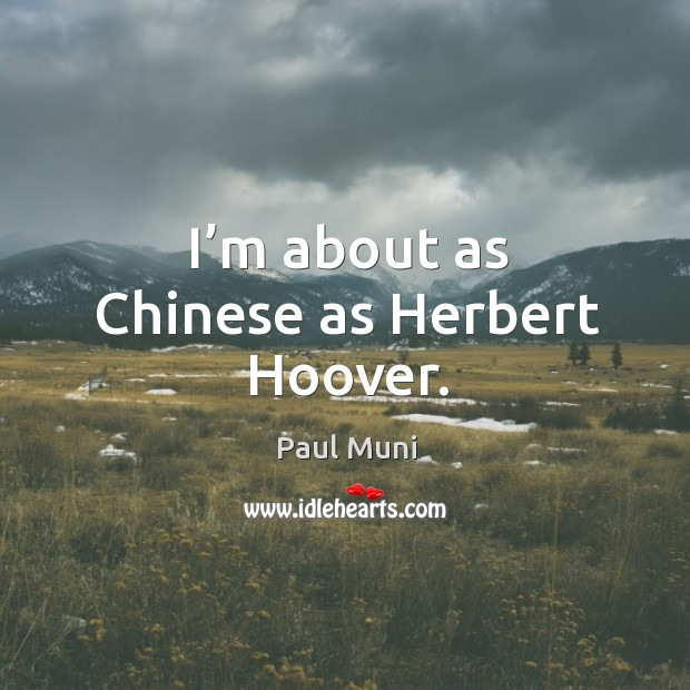 I'm about as chinese as herbert hoover. Image