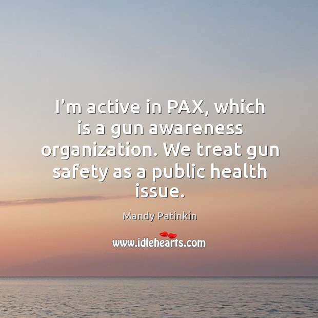 Image, I'm active in pax, which is a gun awareness organization. We treat gun safety as a public health issue.