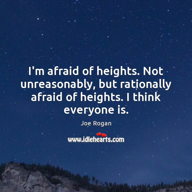 I'm afraid of heights. Not unreasonably, but rationally afraid of heights. I Joe Rogan Picture Quote