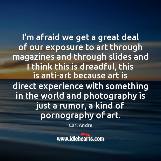 I'm afraid we get a great deal of our exposure to art Carl Andre Picture Quote