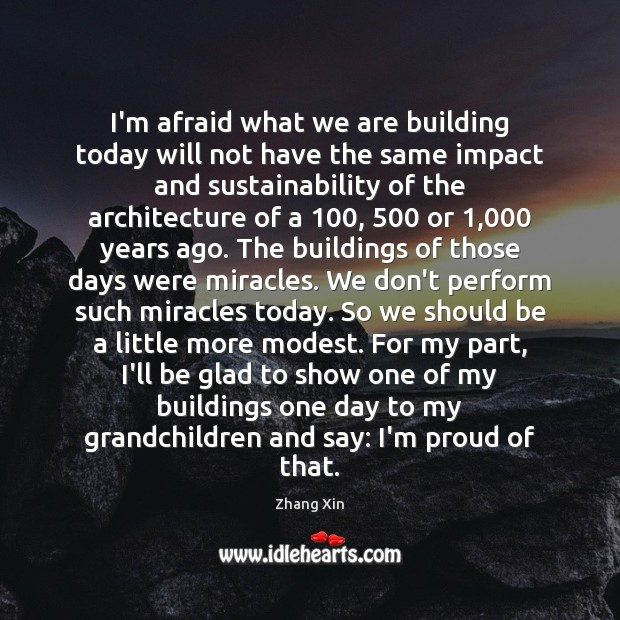 I'm afraid what we are building today will not have the same Zhang Xin Picture Quote