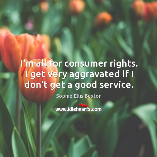 I'm all for consumer rights. I get very aggravated if I don't get a good service. Sophie Ellis Bextor Picture Quote