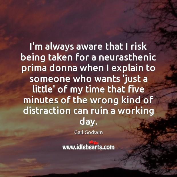 Image, I'm always aware that I risk being taken for a neurasthenic prima