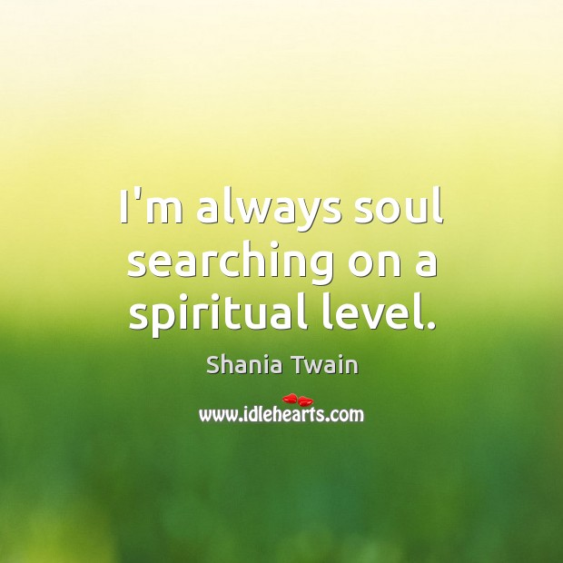 I\'m always soul searching on a spiritual level.