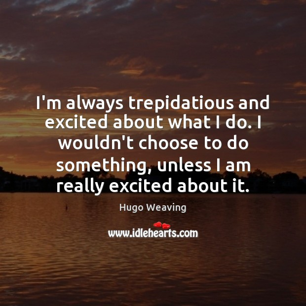 I'm always trepidatious and excited about what I do. I wouldn't choose Hugo Weaving Picture Quote
