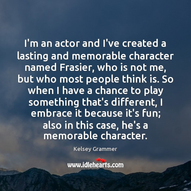 I'm an actor and I've created a lasting and memorable character named Image