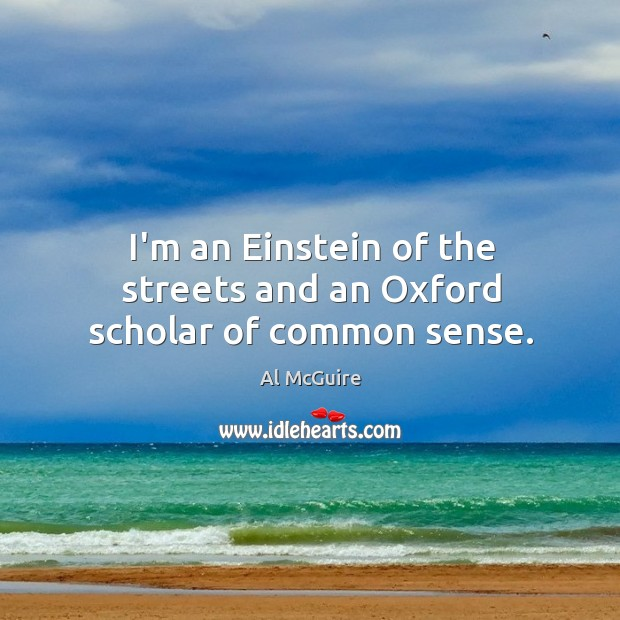 I'm an Einstein of the streets and an Oxford scholar of common sense. Image
