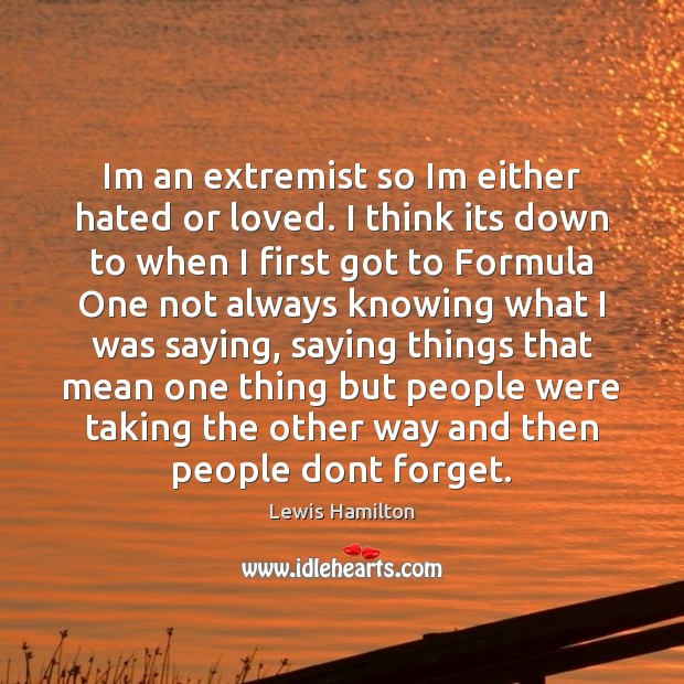 Im an extremist so Im either hated or loved. I think its Lewis Hamilton Picture Quote
