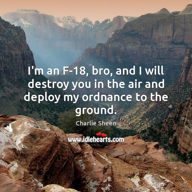 I'm an F-18, bro, and I will destroy you in the air and deploy my ordnance to the ground. Charlie Sheen Picture Quote