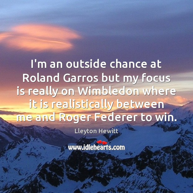 I'm an outside chance at Roland Garros but my focus is really Image