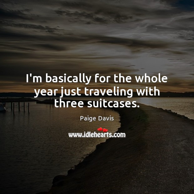 I'm basically for the whole year just traveling with three suitcases. Travel Quotes Image