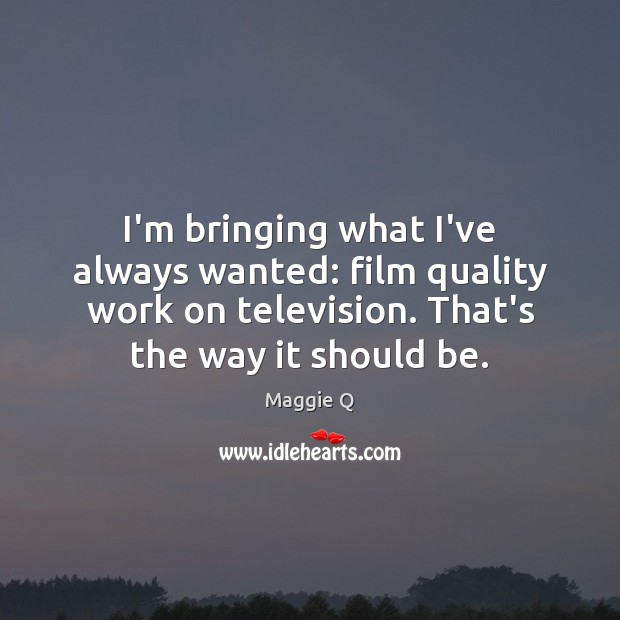 I'm bringing what I've always wanted: film quality work on television. That's Maggie Q Picture Quote