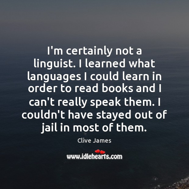 I'm certainly not a linguist. I learned what languages I could learn Image