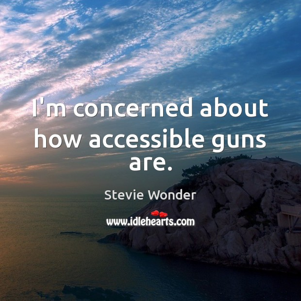 Stevie Wonder Picture Quote image saying: I'm concerned about how accessible guns are.