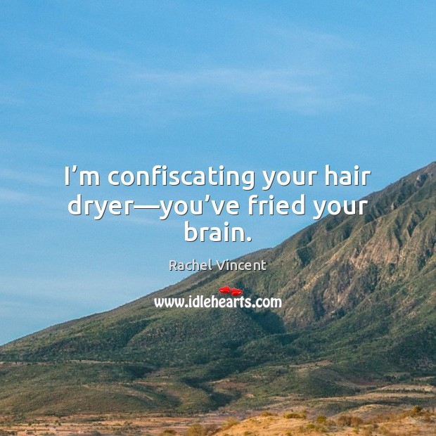 I'm confiscating your hair dryer—you've fried your brain. Rachel Vincent Picture Quote
