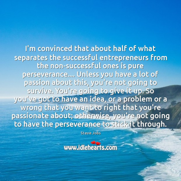 I'm convinced that about half of what separates the successful entrepreneurs from Steve Jobs Picture Quote