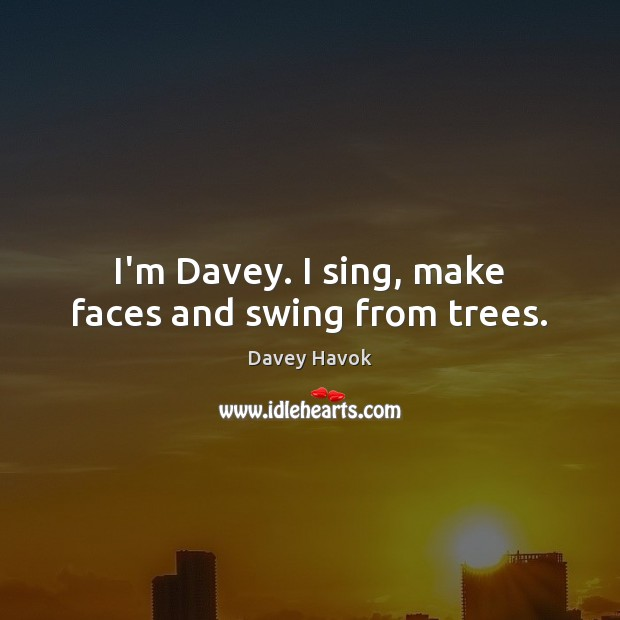 Image, I'm Davey. I sing, make faces and swing from trees.