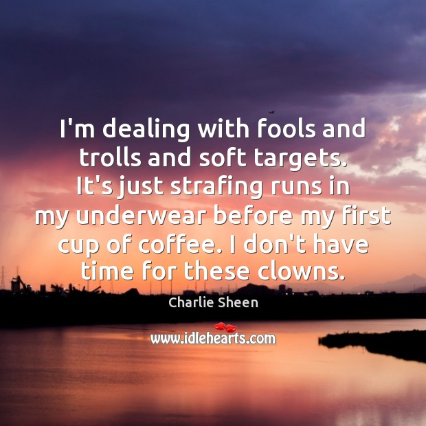I'm dealing with fools and trolls and soft targets. It's just strafing Charlie Sheen Picture Quote