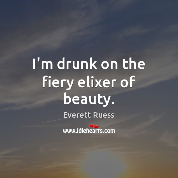 I'm drunk on the fiery elixer of beauty. Everett Ruess Picture Quote